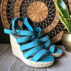 🌺Mossimo brand teal colored strappy espadrilles